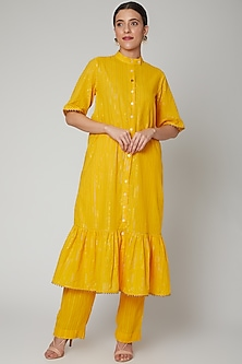 Yellow Gathered Kurta Set by Ahmev