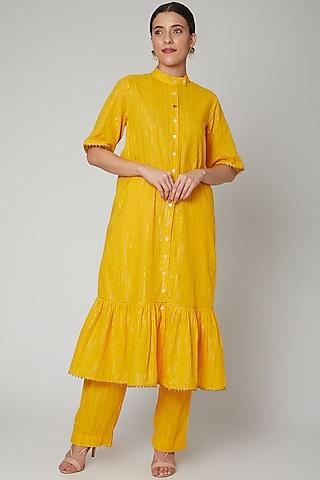 Yellow Gathered Kurta Set by Ahmev