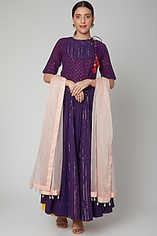 Mauve Lehenga Set With Tassels by Ahmev