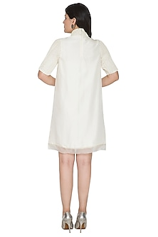 White Embroidered High Neck Dress by Ahmev