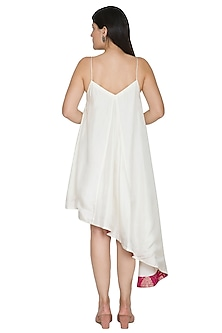 White Embroidered Strappy Dress by Ahmev