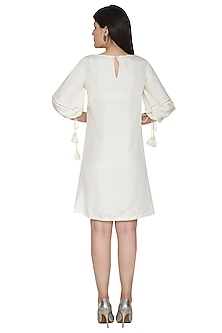 White Embroidered Dress With Drawstring Sleeves by Ahmev