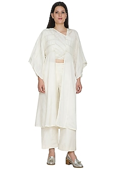 White Embroidered Kimono Overlay by Ahmev