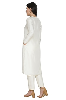 White Embroidered Front Slit Kurta by Ahmev
