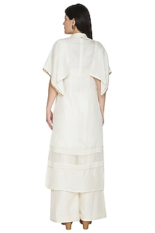 White Embroidered Kimono Kurta by Ahmev