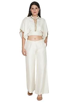 White Habutai Silk Palazzo Pants by Ahmev
