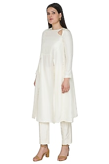 White Embroidered Angrakha Kurta by Ahmev
