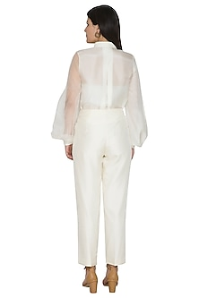 White Overlap Pleated Pants by Ahmev