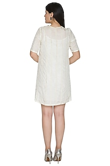 White Paneled Zari Dress by Ahmev