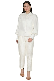 White Habutai Silk Shirt by Ahmev