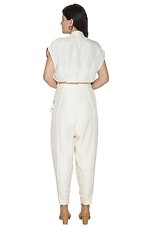 White Pants With Looped Bottom Hem by Ahmev
