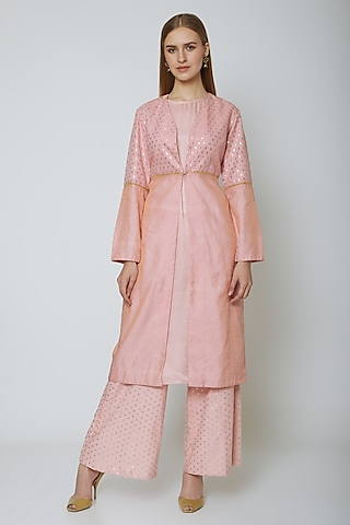Blush Pink Jacket Palazzo Set by Ahmev
