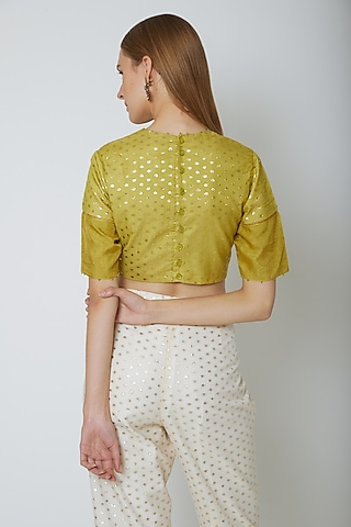 Olive Green Butti Blouse by Ahmev