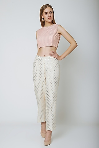 Blush Pink Corded Blouse by Ahmev