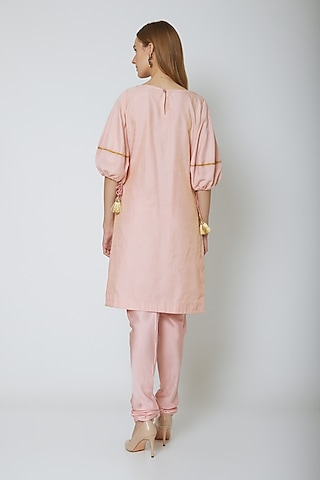 Blush Pink Drawstring Kurta Set by Ahmev