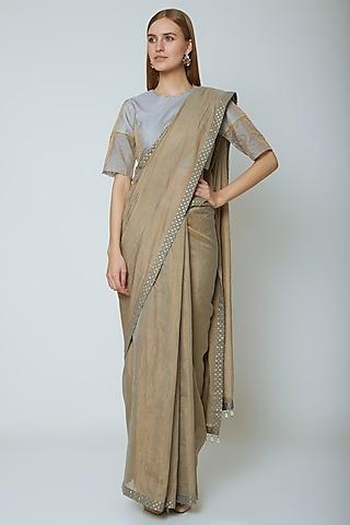 Grey Tissue Saree Set by Ahmev