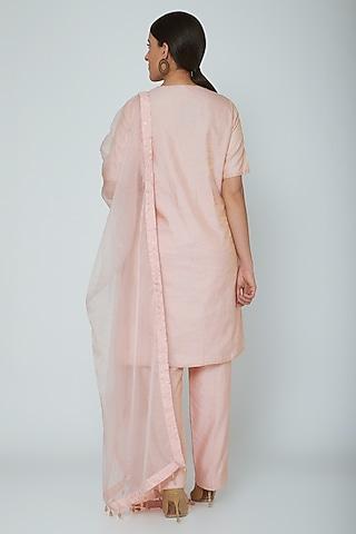 Blush Pink Zari Kurta Set by Ahmev