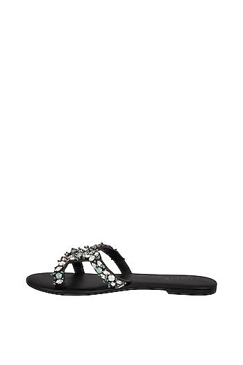 Black Opal Embellished Slip-On Sandals by Ash Amaira
