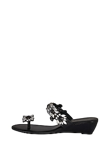 Black Embellished Slip-On Wedges by Ash Amaira