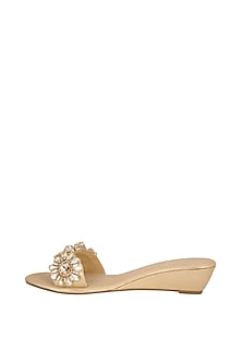 Champagne Embellished Slip-On Sandals by Ash Amaira