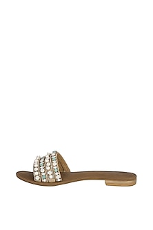 Dusty Tan Handmade Embellished Slip-On Sandals by Ash Amaira