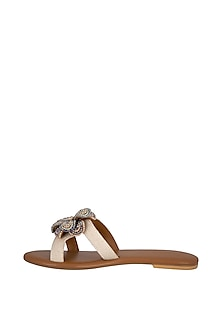Tan Handmade Floral Embellished Slip-On Sandals by Ash Amaira