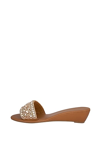 Tan Handmade Embellished Slip-On Heel Sandals by Ash Amaira