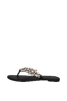 Black Handmade Embellished Swarovski Crystal Slip-On Sandals by Ash Amaira