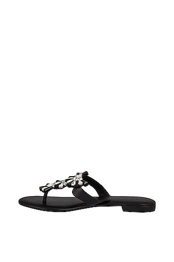 Black Handmade Embellished T-Strap Slip-On Sandals by Ash Amaira