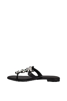 Black Handmade Embellished T-Strap Slip-On Sandals by Ash Amaira