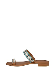 Tan Handmade Embellished Austrian Crystal Slip-On Sandals by Ash Amaira
