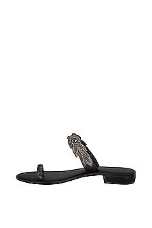 Black Handmade Embroidered Slip-On Sandals by Ash Amaira