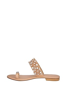 Nude Handmade Embellished Strap Slip-On Sandals by Ash Amaira