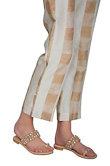 Nude Handmade Embellished Strap Slip-On Sandals by Ash Amaira