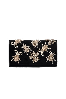 Black Handmade Embroidered Moth Clutch by Ash Amaira