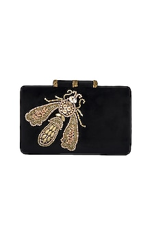 Black Handmade Embroidered Moth Motif Clutch by Ash Amaira