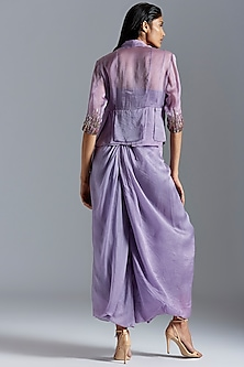 Purple Embroidered Jacket With Pants by A Humming Way