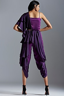 Purple Embroidered Ombre Jumpsuit With Stole & Belt by A Humming Way
