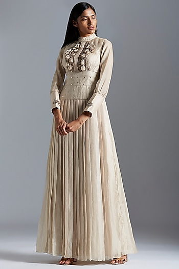 Grey Embroidered Jacket With Gown by A Humming Way