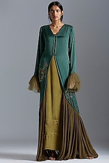 Emerald Green Embroidered Robe Gown by A Humming Way
