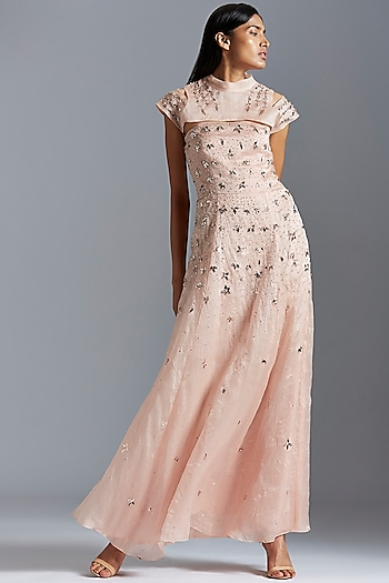 Blush Pink Embroidered Gown With Shrug by A Humming Way