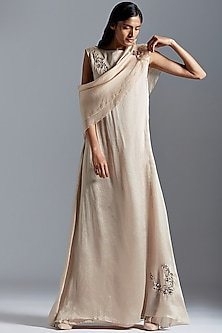 Beige Embroidered Sheer Maxi Dress With Cape by A Humming Way