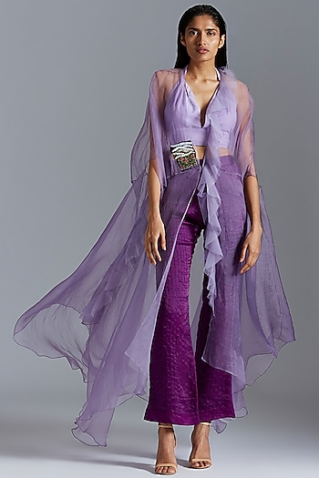 Purple Embroidered Flared Cape With Pants by A Humming Way