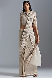 Grey Embroidered Saree Set by A Humming Way