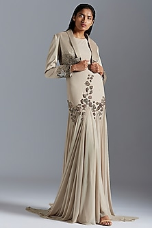 Grey Embroidered Gown With Tuxedo Jacket by A Humming Way
