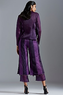 Purple Embroidered Angrakha Coat With Pants by A Humming Way