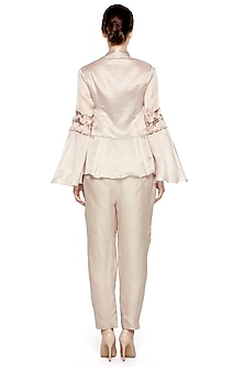 Grey Embroidered Peplum Jacket by A Humming Way
