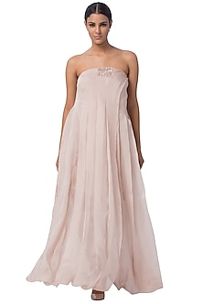 Blush Pink Embroidered Jumpsuit With Dress Lining by A Humming Way