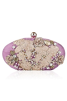 Mauve Pink and Gold Embroidered Box Clutch by Aharin India