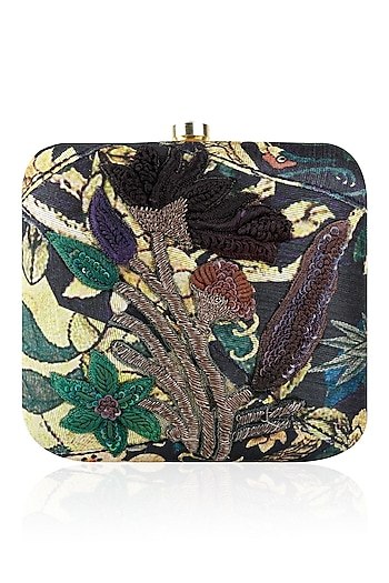 Navy Blue Floral Print and Zardozi Work Box Clutch by Aharin India